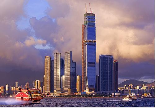 The new Kowloon skyline and Hong Kong's tallest under construction building, The International Commerce Center ICC that will have the third highest roof in the world, Hong Kong, China.